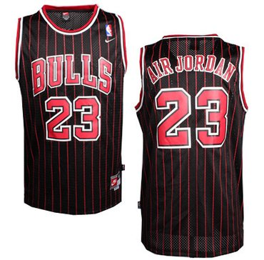 Wholesale Cheap Chicago Bulls #23 Air Jordan Nickname Black Pinstripe Swingman Throwback Jersey