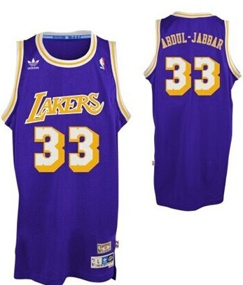 Wholesale Cheap Los Angeles Lakers #33 Kareem Abdul-Jabbar Purple Swingman Throwback Jersey