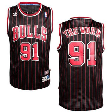 Wholesale Cheap Chicago Bulls #91 The Worm Nickname Black Pinstripe Swingman Throwback Jersey