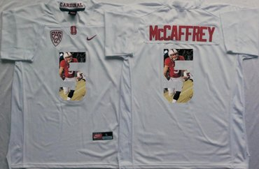 Wholesale Cheap Stanford Cardinal 5 Christian McCaffrey White Portrait Number College Jersey