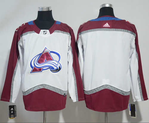 Wholesale Cheap Adidas Avalanche Blank White Road Authentic Stitched NHL Jersey