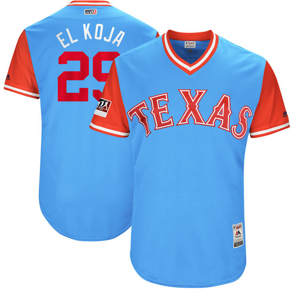 "Wholesale Cheap Rangers #29 Adrian Beltre Light Blue ""El Koja"" Players Weekend Authentic Stitched MLB Jersey"