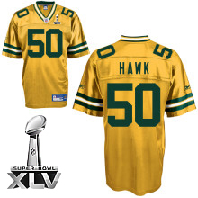 Wholesale Cheap Packers #50 A.J. Hawk Yellow Super Bowl XLV Stitched NFL Jersey