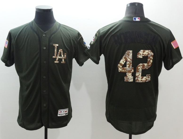 Wholesale Cheap Dodgers #42 Jackie Robinson Green Flexbase Authentic Collection Salute to Service Stitched MLB Jersey